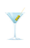 Cocktail with olives. On white backgound royalty free illustration
