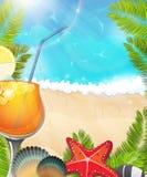 Cocktail op tropische achtergrond Royalty-vrije Stock Fotografie