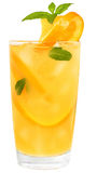 Cocktail with orange juice and ice cubes decorated leaf mint Stock Photos