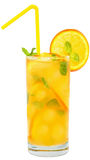 Cocktail with orange juice with ice cubes and leaf mint Stock Images