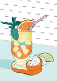 Cocktail with orange peel and mint leaf served on a bar. Vector Illustration. Stock Photography