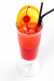 Cocktail with orange. Red cocktail with ice and orange Stock Images