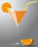 Cocktail with orange and straw Royalty Free Stock Images