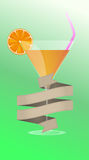 Cocktail with orange and straw Stock Photo