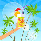 Cocktail over green palm tree blue sky vector Royalty Free Stock Photo