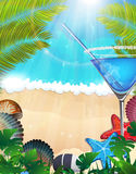 Cocktail with palm branches on tropical background Stock Images