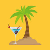 Cocktail palm sand beach symbol Royalty Free Stock Photography