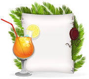 Cocktail with paper scroll and palm branches Stock Photos