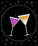 Cocktail party (2). Illustration of cocktail party on black background with stars Stock Image