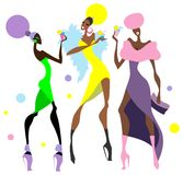 Cocktail party. Girls at the cocktail party. Vector illustration Royalty Free Stock Photo