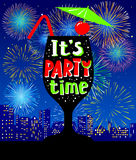Cocktail party background. Glass silhouette on the urban night l. Andscape with city lights and holiday fireworks. It`s party time lettering in cute style Stock Images