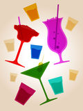 Cocktail party background. Vector illustration of various cocktail glasses Stock Photo