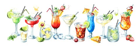 Cocktail party banner. Watercolor hand drawn illustration, isolated on white background royalty free illustration