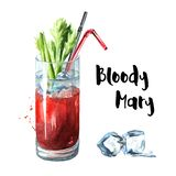 Cocktail party. Bloody Mary with celery. Watercolor hand drawn illustration, isolated on white background. vector illustration