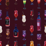 Cocktail party burgundy seamless pattern Royalty Free Stock Photos