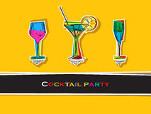 Cocktail party card. Pop art cocktail party card Vector Illustration