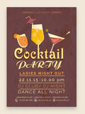 Cocktail Party celebration Flyer or Banner. Stylish Cocktail Party celebration one page Flyer, Banner or Template with date and time details Stock Photo