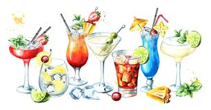 Cocktail party. Cocktails banner. Watercolor hand drawn illustration, isolated on white background. stock illustration