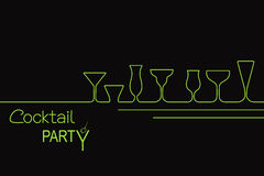 Cocktail party design. Design for cocktail party invitation or bar menu with different types of cocktail glasses Stock Image
