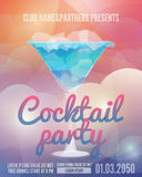 Cocktail party flyer. Club poster with a glass and a drink. Low polygon style vector illustrations. Template invitation to a beach party. Creative Party Flyer Royalty Free Stock Photos