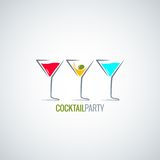 Cocktail party glass menu background Royalty Free Stock Images