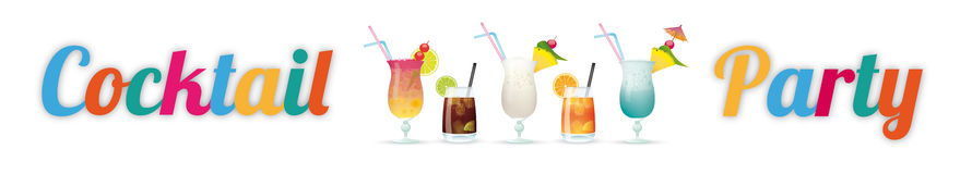 Cocktail Party Header. Text Cocktail Party with cocktails on the white Royalty Free Stock Image