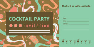 Cocktail party horizontal invitation card template with cocktails, citrus, waves. Colorful and gold colors. Place for text Royalty Free Stock Photo