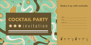 Cocktail party horizontal invitation card template with cocktails, citrus, waves. Green and gold colors. Place for text Royalty Free Stock Images