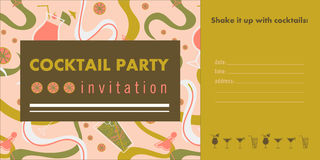 Cocktail party horizontal invitation card template. Cocktail party horizontal invitation card template with cocktails, citrus, waves. Pink, green and gold Royalty Free Stock Photography