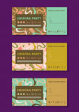 Cocktail party horizontal invitation card templates set with cocktails, citrus, waves. Colorful and gold colors. Place for your text Royalty Free Stock Images