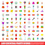 100 cocktail party icons set, cartoon style. 100 cocktail party icons set in cartoon style for any design vector illustration Stock Illustration
