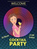 Cocktail party illustration with girl. And place for text Stock Image