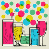 Cocktail Party invitation. Retro styled Royalty Free Stock Image
