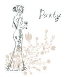 Cocktail party invitation or card with retro woman Royalty Free Stock Image