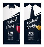 Cocktail Party invitation. Flyer or poster design with cocktail. Glass on black background. Vector illustration royalty free illustration