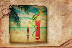 Cocktail party invitation in vintage style. Grunge texture with. Two alcohol cocktails served at bar on tropical ocean beach Royalty Free Stock Images