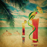 Cocktail party invitation in vintage style. Grunge texture with. Two alcohol cocktails served at bar on tropical ocean beach Royalty Free Stock Image