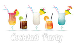 Cocktail Party. Kinds of cocktails with text Cocktail Party Royalty Free Stock Photography