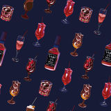 Cocktail party navy seamless vector pattern. EPS10 file Royalty Free Stock Photos