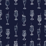 Cocktail party navy and white seamless pattern Royalty Free Stock Photography