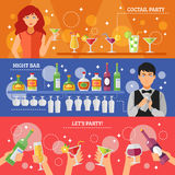 Cocktail Party Night Bar Flat Banners Stock Photography