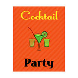 Cocktail party poster with alcohol drinks in glasses on orange background Stock Image