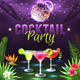 Cocktail Party Poster. With alcohol cocktail glasses disco ball and tropical plants on background vector illustration Stock Images