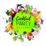 Cocktail party poster design. Cocktail menu vector illustration