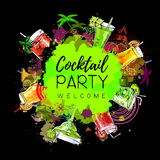 Cocktail party poster design. Cocktail menu royalty free illustration