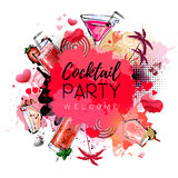 Cocktail party poster design. Valenine`s day Stock Image