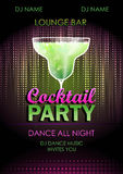 Cocktail party poster. Disco background. Cocktail party poster Royalty Free Stock Photography