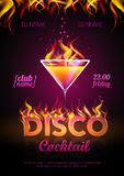 Cocktail party poster. Disco background. Cocktail party poster Royalty Free Stock Photos