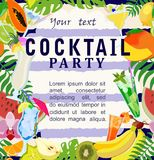 Cocktail party poster with drinks and fruits. Vector illustration. Stock Images