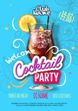 Cocktail party poster in eclectic modern style. Realistic cocktail stock illustration